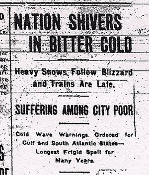 1912 United States cold wave - Headline from the January 13, 1912, Ypsilanti Daily Press