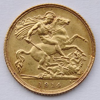 A 1914 British gold sovereign 1914 Sydney Half Sovereign - St. George.jpg