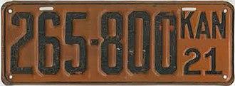 Vehicle registration plates of Kansas - Image: 1921 Kansas license plate