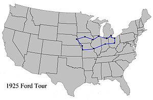Ford National Reliability Air Tour - 1925 Ford Tour route