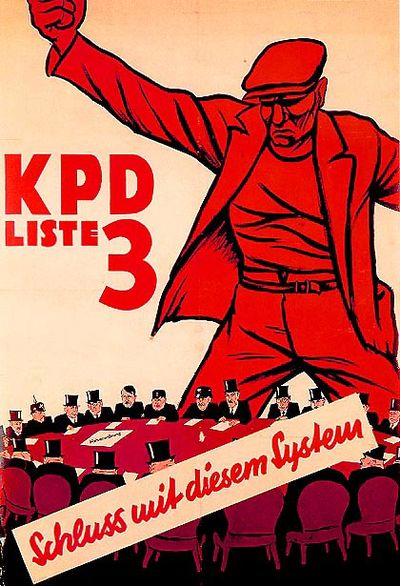 KPD election poster, 1932. The caption at the bottom reads 'An end to this system!'. 1932-kpd.jpg