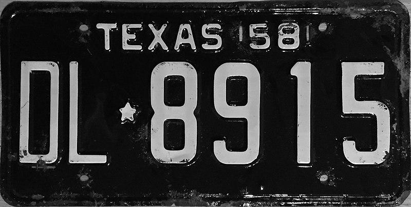 File:1958 Texas license plate 01.jpg