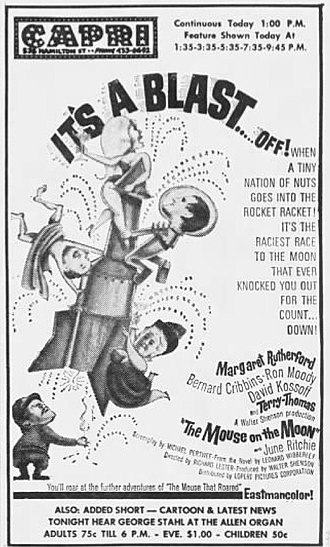 June Ritchie - Likeness of June Ritchie shown at top of rocket in advertisement for The Mouse on the Moon