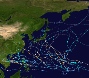 1972 Pacific typhoon season - Image: 1972 Pacific typhoon season summary map