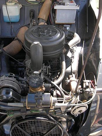 Vue générale d'un moteur de 2CV (modèle 1974)