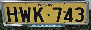 Vehicle registration plates of Australia - Original yellow series, note colour difference