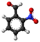Ball-and-stick model of the 2-nitrobenzaldehyde molecule