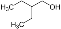Skeletal formula of 2-ethyl-1-butanol with some implicit hydrogens shown