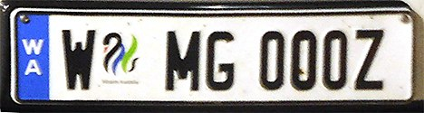 2005 Western Australia registration plate W MG 000Z europlate