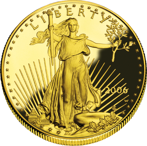 obverse side of the American Gold Eagle coin