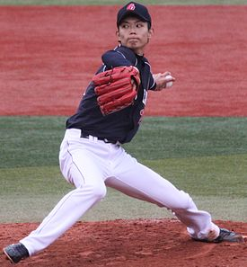 20130421 Toshiya Okada, pitcher of the Chunichi Dragons, at Yokohama Stadium.JPG