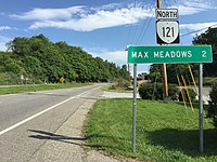 2017-06-13 09 27 16 View north along Virginia State Route 121 (Max Meadows Road) at Interstate 77 and Interstate 81 in Fort Chiswell, Wythe County, Virginia.jpg