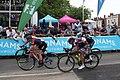 2018 Women's Tour stage 3 - Leamington finish 003 Alice Barnes (081 Chloe Hosking) 145 Anastasia Iakovenko (055 Elisa Longo Borgini).JPG