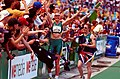 261000 - Athletics track 100m T38 Katrina Webb Alison Quinn Australian celebrate - 3b - 2000 Sydney race photo.jpg