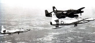 Hamilton Army Airfield - North American F-82F Twin Mustang (46-418) of the 325th FG (AW) and two Lockheed F-94A-5-LO (49-2558, 49-2588) Starfires