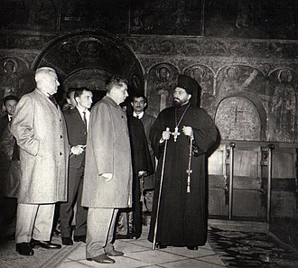 Orthodox Church in Communist Romania - Nicolae Ceaușescu and other Party officials visit Neamț Monastery in 1966.