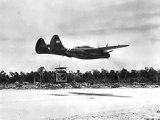421st Fighter Squadron - P-61B-20-NO Black Widow 43-8317 landing at Tacloban Airfield, Tacloban, Leyte, 8 February 1945.
