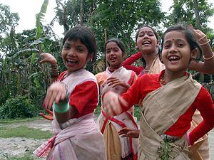 Bihu - Girls celebrating the spring Bihu (April) festival.