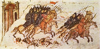 Bulgars - Bulgars led by Khan Krum pursue the Byzantines at the Battle of Versinikia (813)