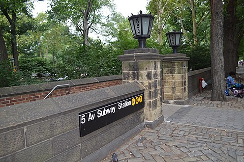 Entrance to the Fifth Avenue-59th Street subway station just outside Central Park 5 Av Subway Station entrance.jpg