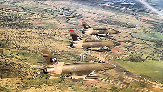 Phan Rang Air Base - 614th Tactical Fighter Squadron 3 ship F-100D formation