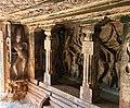 6th century Ravanaphadi cave temple, Ardhanarishvara and Nataraja with Saptamatrikas, Aihole Hindu monuments Karnataka.jpg