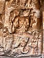 6th century Vishnu avatar Varaha lifting goddess earth (Bhudevi) in Cave 3, Badami Hindu cave temple Karnataka 2.jpg