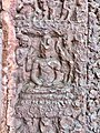 7th century Hindu god in Yoga or Vishnu avatar Buddha relief, Lakshmana Hindu temple, Sirpur Chhattisgarh India.jpg