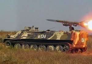 9K114 Shturm - 9P149 vehicle with 9M114 missiles of anti-tank complex «Shturm-S» is firing