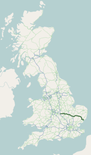 A14 road (England) - Image: A14 road map