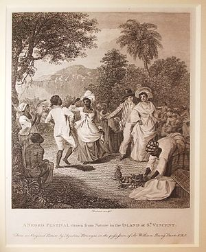 History of Saint Vincent and the Grenadines - Engraving 'after Agostino Brunias' (ca 1801) entitled A Negro Festival drawn from Nature in the Island of St Vincent. National Maritime Museum, Greenwich