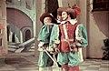 A Nemzeti Színház előadása- A zöld nadrágos lovag. Balra Szörényi Éva, középen Garamszeghy Sándor, jobbra Ungváry László. Fortepan 27299.jpg