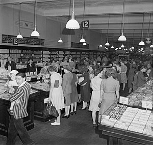 Woolworths Group - Interior of a Woolworths store in Reading in 1945