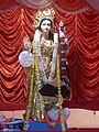 A Saraswati idol being worshipped by the Hindus during the religious festival of Saraswati Puja.jpg