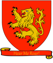 The lion rampant coat of arms of House Lannister A Song of Ice and Fire arms of House Lannister red scroll.png