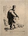 A blind fiddler walks with his dog. Etching by R.H.(?), 1631 Wellcome V0015909.jpg