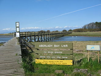 Aberlady - Aberlady Nature Reserve Footbridge that crosses the Peffer Burn. Footbridge to Luffness
