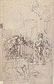 Abraham Entertaining the Three Angels (Genesis 18-1-15) (recto); A Couple Embracing, and Other (verso) MET 61.158.2 RECTO.jpg