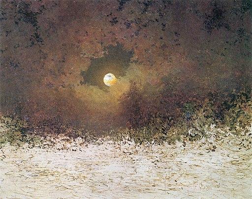 Adalbert Stifter - Mondlandschaft mit bewölktem Himmel (ca.1850)