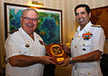 Admiral RK Dhowan exchanging a memento with Admiral Bernard Rogel.JPG