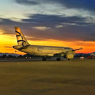 Zakynthos International Airport - An Aegean Airlines Airbus A320 at the apron of Zakynthos International Airport (ZTH)