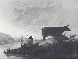 A River Landscape with Fisherman and Cows