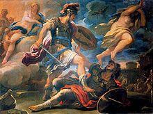 Il duello di Enea e Turno, opera di Luca Giordano