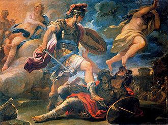 Turnus - Aeneas defeats Turnus, Luca Giordano, 1634-1705. The female on the left is Venus, Aeneas' mother, who supported him during the battle. The female on the right must be Turnus' sister, the nymph Juturna, who was forced by a Fury (transformed to a black bird sent by Jupiter) to abandon Turnus to his fate.