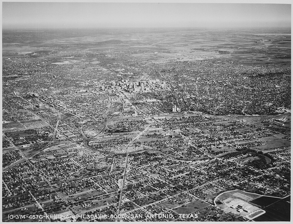 Aerial view of San Antonio. Texas, and the surrounding plains, 12-1939 - NARA - 512843