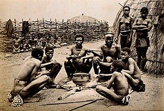Hlubi people - Hlubi men and women at a kraal near Pietermaritzburg, 19th century