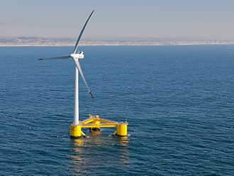 Wind power - The world's second full-scale floating wind turbine (and first to be installed without the use of heavy-lift vessels), WindFloat, operating at rated capacity (2 MW) approximately 5 km offshore of Póvoa de Varzim, Portugal