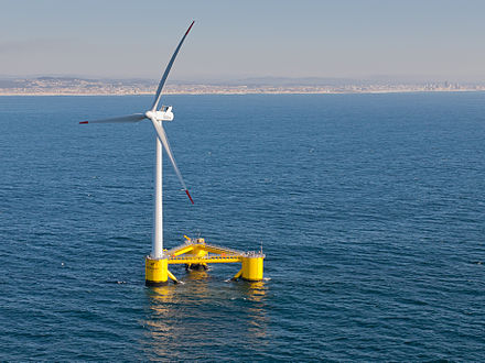 The world's second full-scale floating wind turbine (and first to be installed without the use of heavy-lift vessels), WindFloat, operating at rated capacity (2 MW) approximately 5 km offshore of Povoa de Varzim, Portugal Agucadoura WindFloat Prototype.jpg