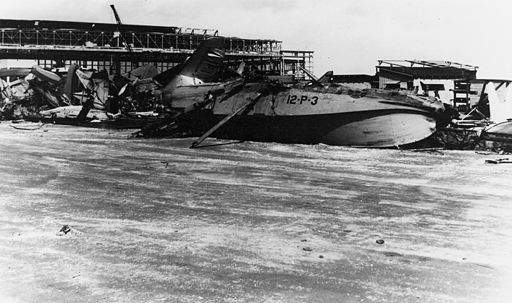 Aircraft wreckage at NAS Kaneohe Bay 1941