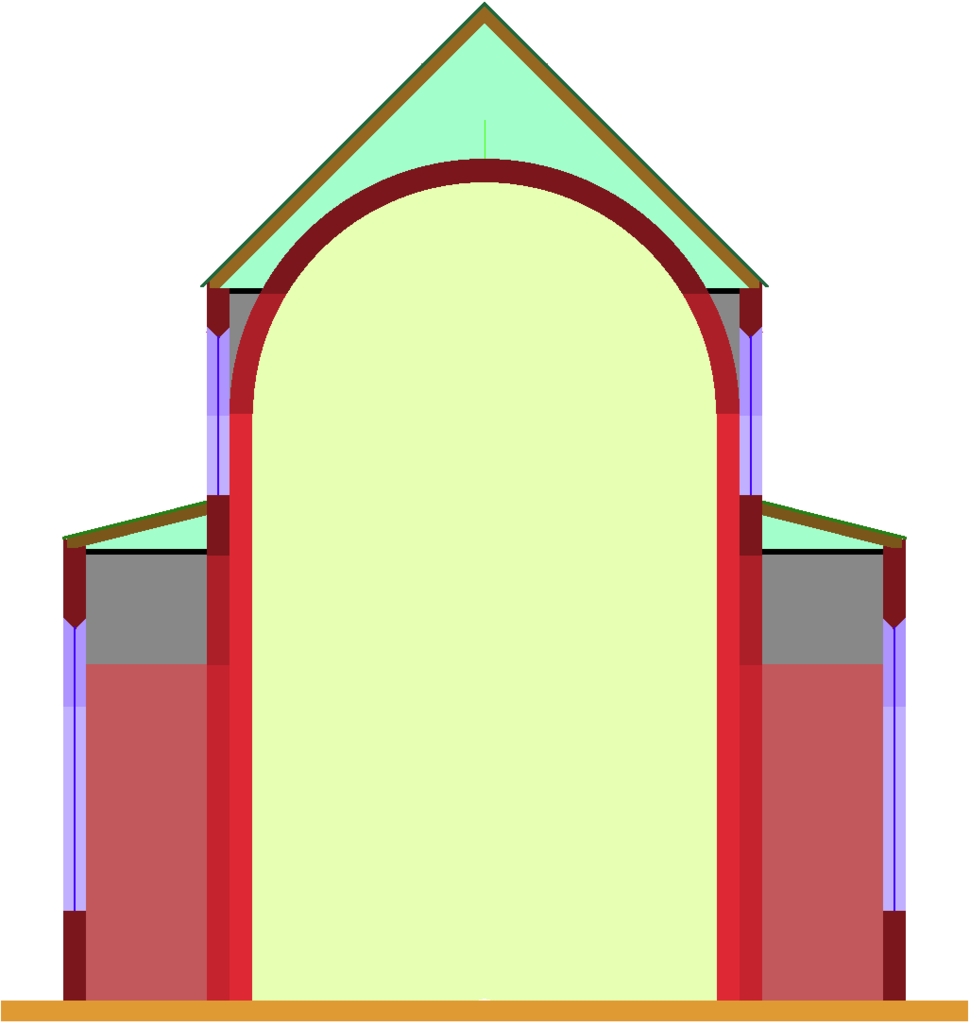 Aisleless church, lateral chapels